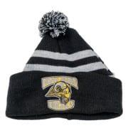 czapka zimowa w paski z haftem